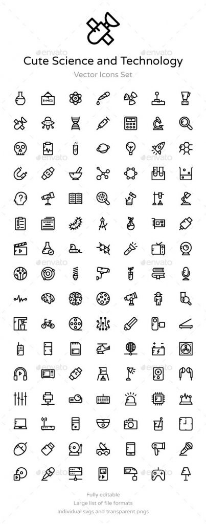100+ Science and Technology Icons 1