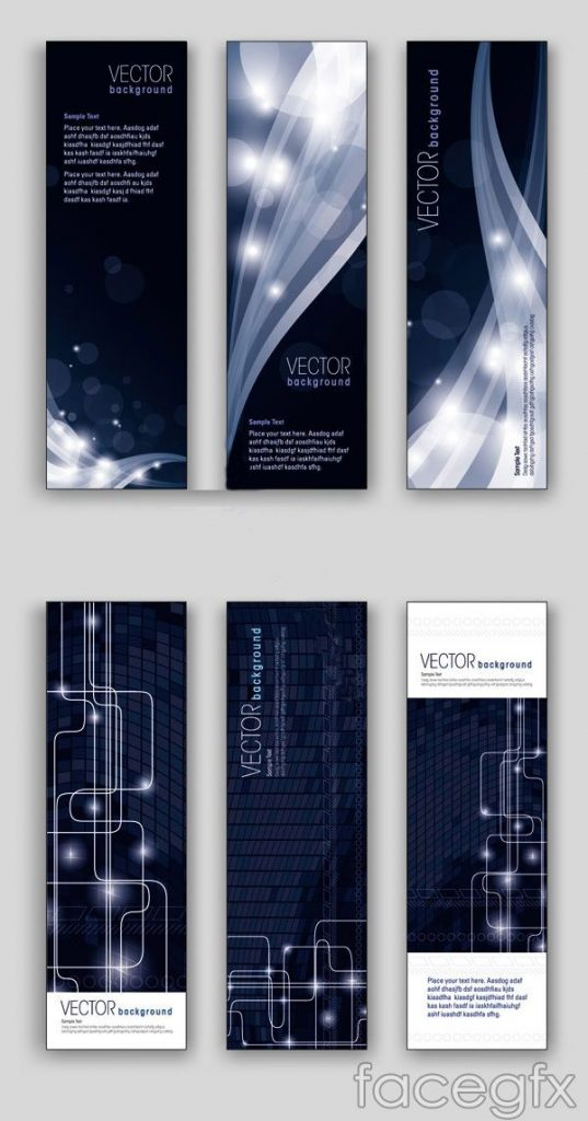 Banners dark sense of science and technology vector 1