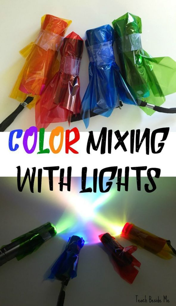 Color Mixing with Lights with a printable worksheet set! This is an easy STEM ex... 1