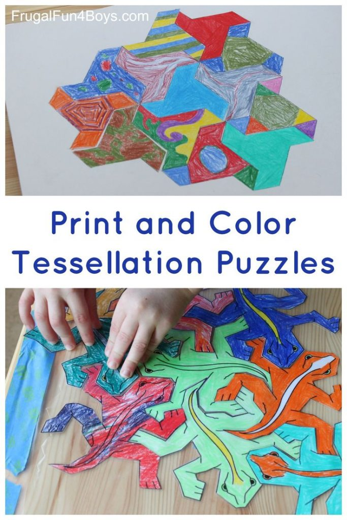 Art for Kids!  Explore tessellations with these tessellating shapes to print and... 1