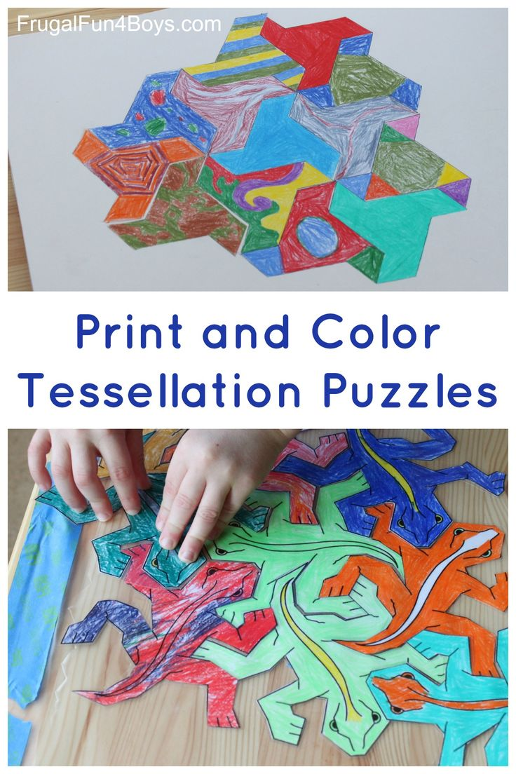 Art for Kids!  Explore tessellations with these tessellating shapes to print and... 2