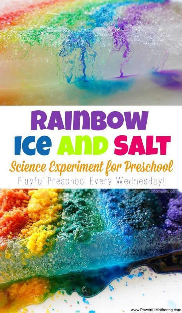preschool science experiment with salt and ice in a rainbow style! See the diffe... 1
