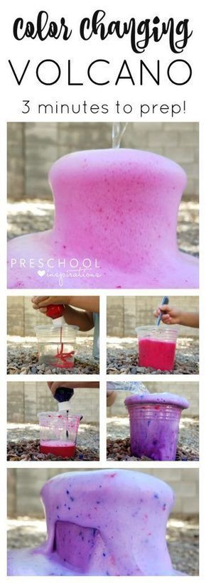 Make a quick and easy color changing baking soda and vinegar volcano for kids! 1