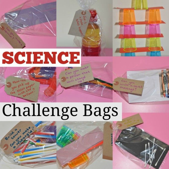 Science challenge bags! Great for STEM centers or science stations. 1
