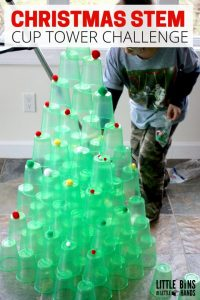Set out a super simple STEM challenge invitation to build a Christmas tree! Our ... 6