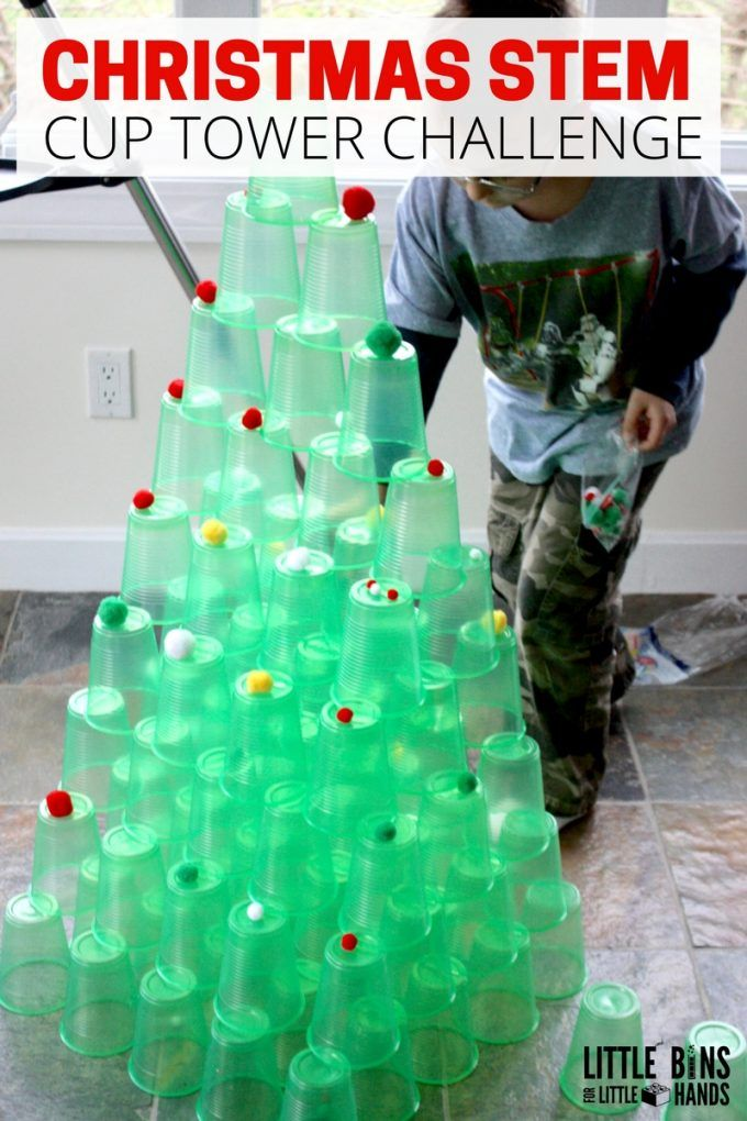 Set out a super simple STEM challenge invitation to build a Christmas tree! Our ... 1