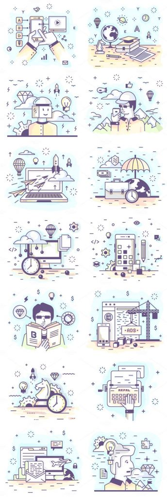 How adorable are these 28 Mini Illustrations? Line vector illustrations, illustr... 1