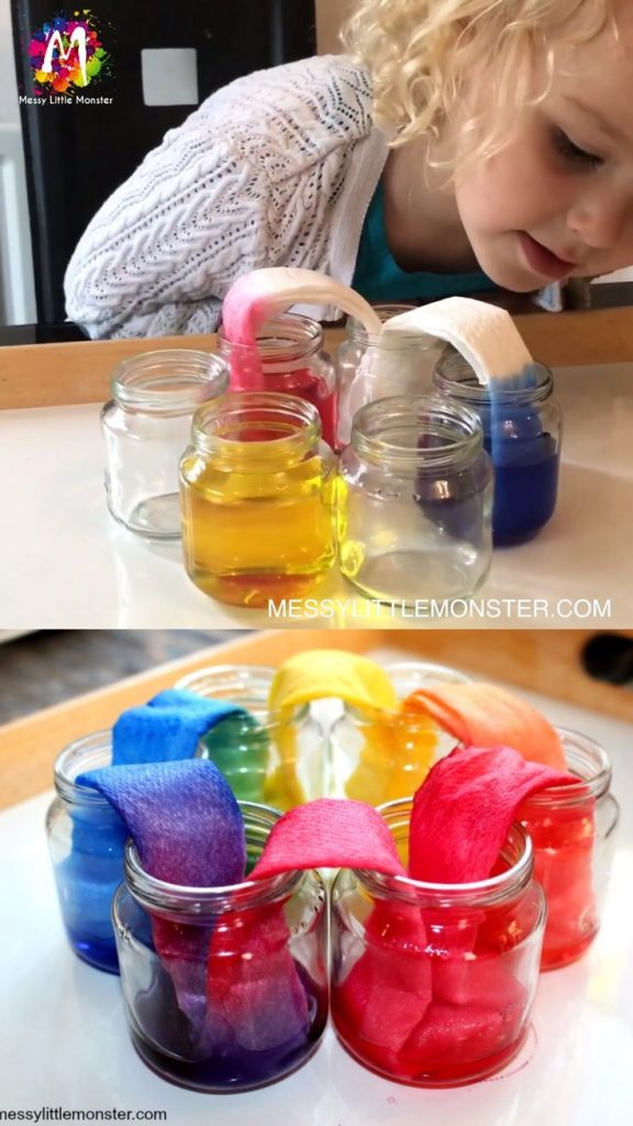Rainbow Walking water Science Experiment for Kids 1