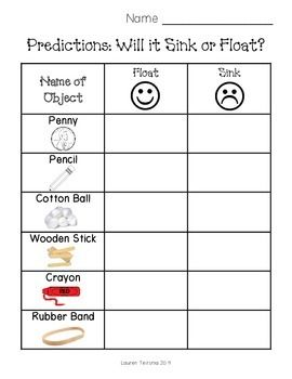 I use this to have students make predictions if an item floats or sinks. 1