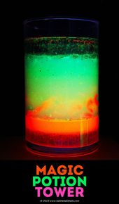 Spooky science projects for kids: Make a glowing Magic Potion Density Tower and ... 1