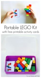 DIY Portable LEGO Kit with 24 Free Printable Activity Cards.  A great idea for t... 1