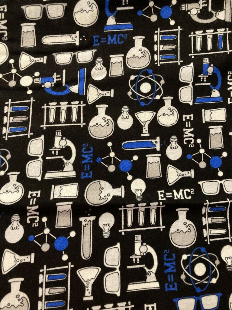 NEW SCIENCE Microscope LAB Glow in the Dark 100% COTTON Flannel by the Half Yard 17